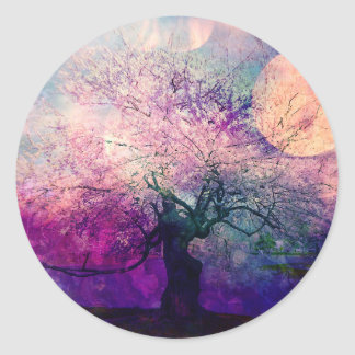 Mystical Tree and Night Moon Classic Round Sticker