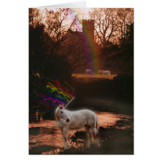 Mystical Unicorns and Church Greeting Card