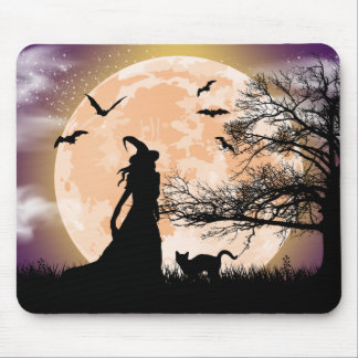 Mystical Witch and Cat Full Moon Mouse Pad