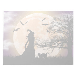 Mystical Witch and Cat Full Moon Notepad