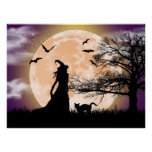 Mystical Witch and Cat Full Moon Poster