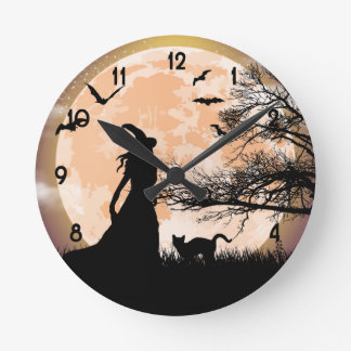 Mystical Witch and Cat Full Moon Round Clock