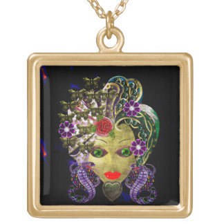 Mystical Witchy Woman Square Pendant Necklace