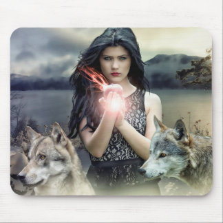 Mystical Woman  Magic Ball and Wolves Mouse Pad