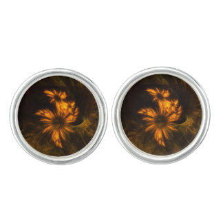 Mystique Garden Abstract Art Silver Plated Cuff Links