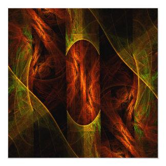 """Mystique Jungle Abstract Art 5.25"""" Square Invitation Card"""