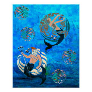 Myth of the Seas New Age Folk Art Poster