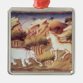 Mythical animals in the wilderness Silver-Colored square decoration