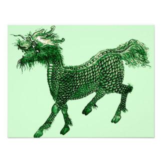 Mythical Beast Green Dragon Design Invitation