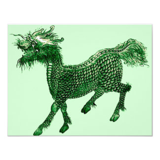 Mythical Beast *Green Dragon Design* 11 Cm X 14 Cm Invitation Card