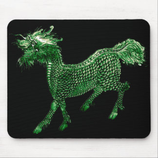 Mythical Beast Green Dragon Design Mouse Pad