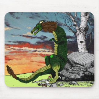 Mythical Dragon with sunset Mouse Pad