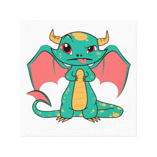 Mythical Dragon with Wings Stretched Canvas Prints