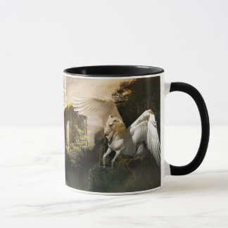 Mythical Flying Pegasus Castle Ruin Mug
