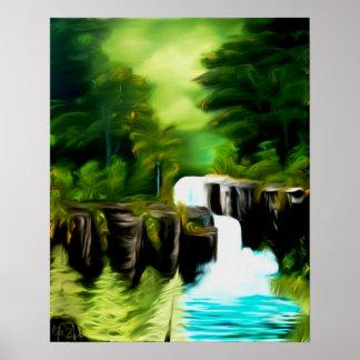 Mythical Green Fantasy Falls Art Poster