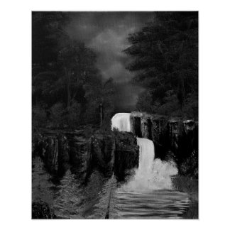 Mythical Green Fantasy Falls In Black & White Poster