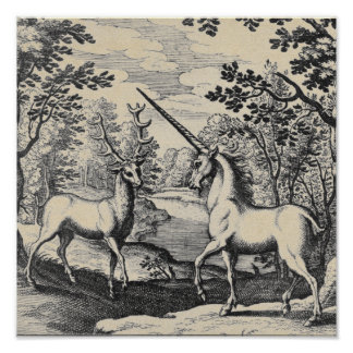 Mythical Unicorn in the Forest Poster