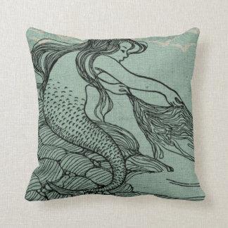 Mythical Young Mermaid Aqua Blue Sea Shore Scene Throw Pillow