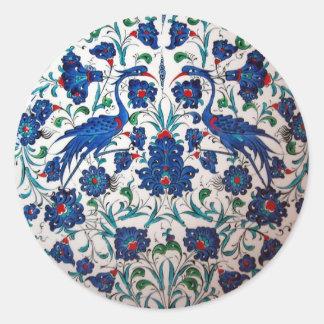 Mythological Bennu Bird Design Tile Art Round Sticker