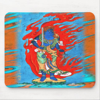 Mythological Blue Buddhist Figure with Flames Mouse Pad