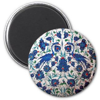 Mythological Heron Bird Pattern Tile Art Magnet