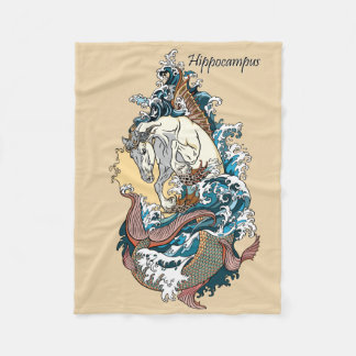 mythological sea horse fleece blanket