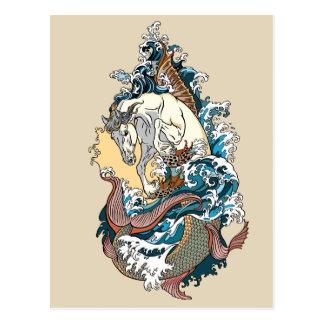 mythological sea horse postcard