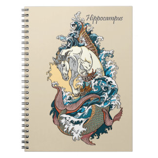 mythological sea horse spiral notebook