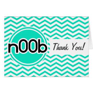 n00b; Aqua Green Chevron Greeting Cards