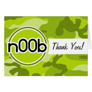 n00b; bright green camo, camouflage greeting cards