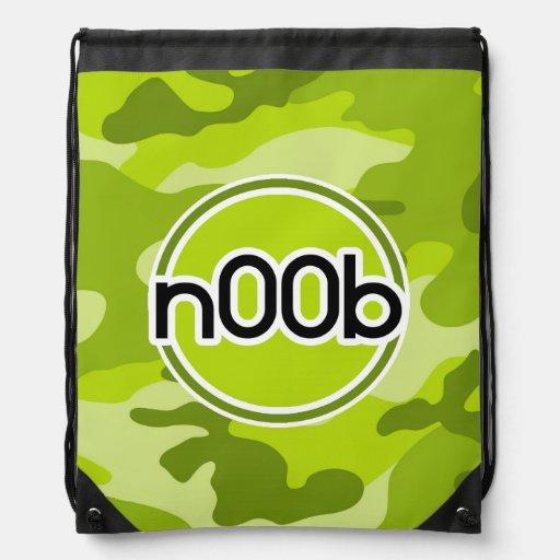 n00b; bright green camo, camouflage cinch bags