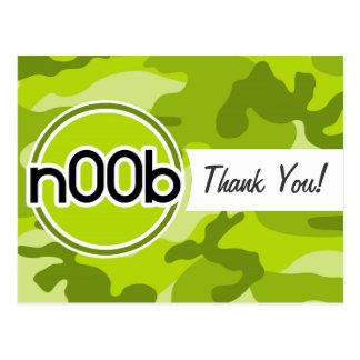 n00b; bright green camo, camouflage postcard