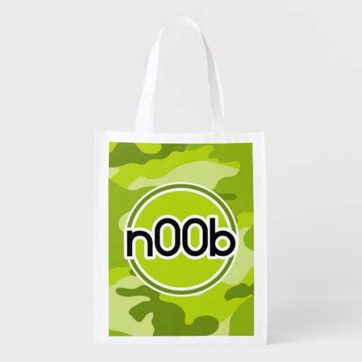 n00b; bright green camo, camouflage grocery bag