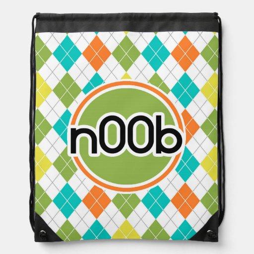 n00b; Colorful Argyle Pattern Cinch Bags