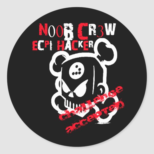 N00B CR3W CLASSIC ROUND STICKER