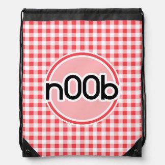 n00b; Red and White Gingham Drawstring Bag