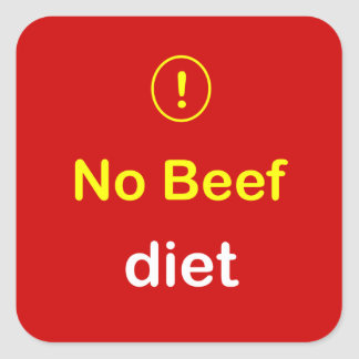 n24 - Food Alert ~ NO BEEF Diet. Square Sticker