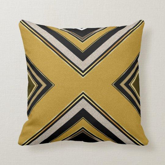 n2 Geometry Art Deco Black Gold Cushion Pillow