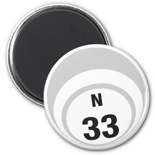 N33 bingo ball fridge magnet