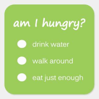 n47 - Health Reminder ~ Hunger Check. Square Sticker