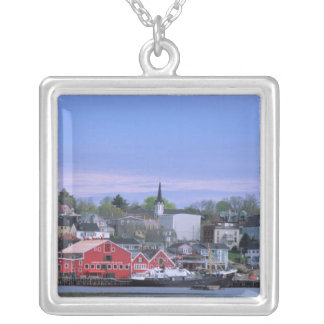 N.A. Canada, Nova Scotia. A view of Lunenburg, a Silver Plated Necklace