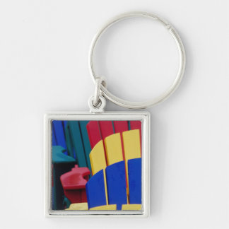 N.A. Canada, Nova Scotia, Bridgewater. Colorful 3 Silver-Colored Square Key Ring