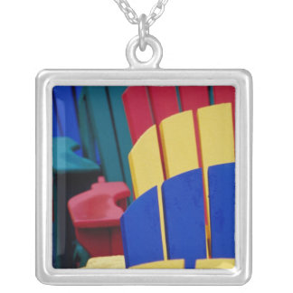 N.A. Canada, Nova Scotia, Bridgewater. Colorful 3 Silver Plated Necklace