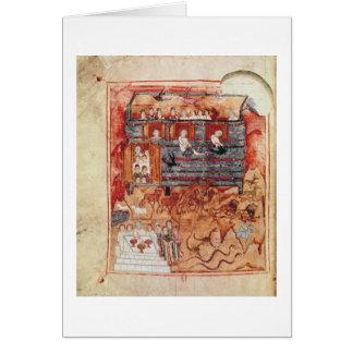 N.A.L 2334 fol.10v Noah's Ark, from 'De Tours Pent Card
