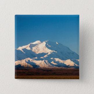 N.A., USA, Alaska.  Mt. McKinley in Denali 15 Cm Square Badge