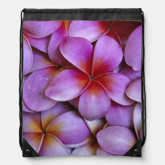 N.A., USA, Maui, Hawaii. Pink Plumeria blossoms. Drawstring Bag