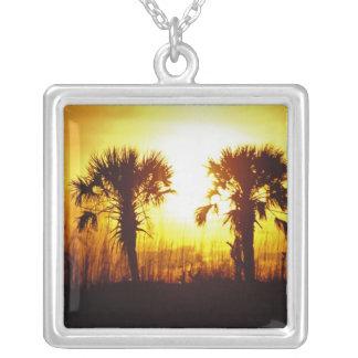 N.A., USA, South Carolina, Charleston. Sunset Silver Plated Necklace