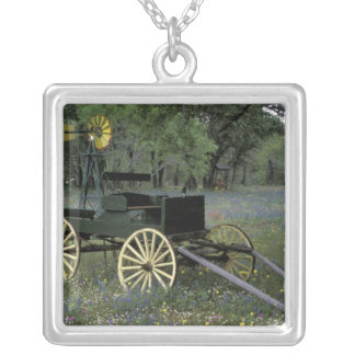 N.A., USA, Texas, Devine, Old wagon and Silver Plated Necklace