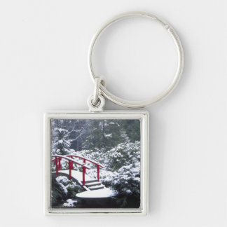N.A., USA, Washington, Seattle. Moon bridge in Silver-Colored Square Key Ring