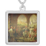 N. Bonaparte visiting the plague stricken of Silver Plated Necklace